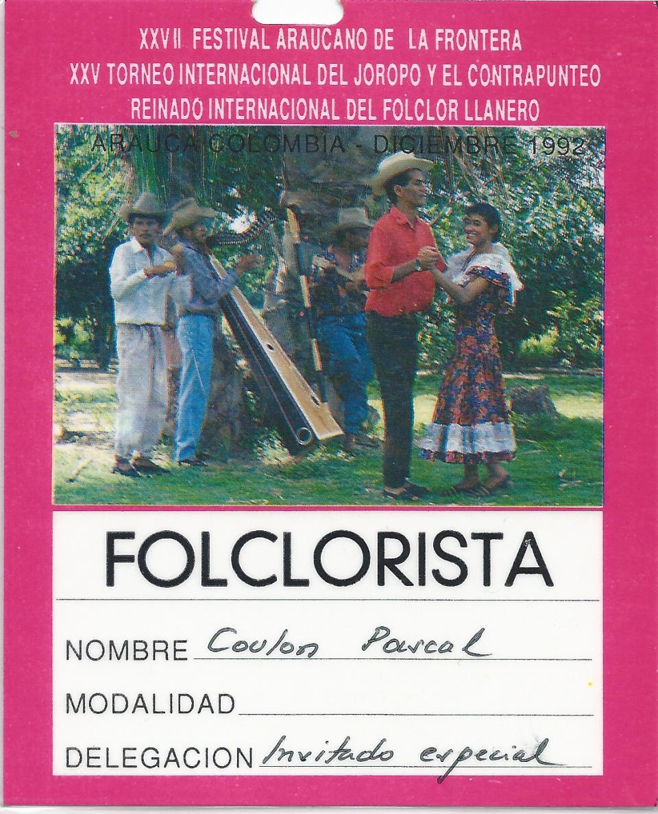 Au Festival de Arauca en 1992 ( Colombie)